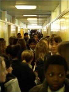 Crowded school corridor